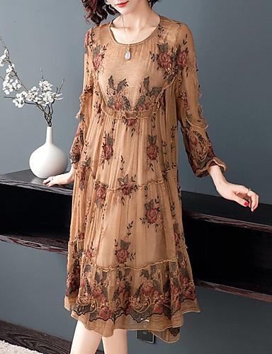 billige Kjoler-Dame Sofistikert Elegant A-linje Kjole - Blomstret, Blonde Drapering Broderi Midi Orangutang Rose Magiske kuber