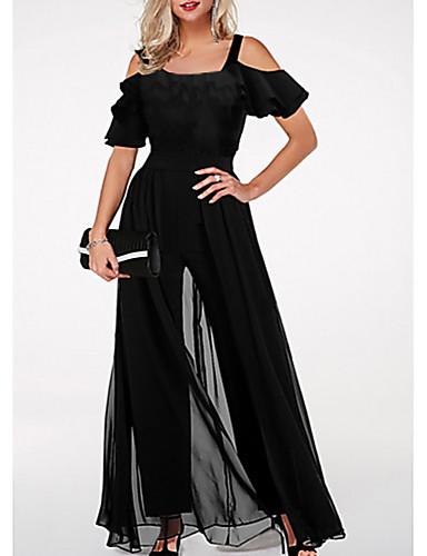 cheap Women's Jumpsuits & Rompers-Women's Basic Black Jumpsuit, Solid Colored M L XL