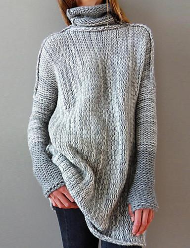 abordables Robes Femme-Femme Basique Mini Gaine Tricot Robe Couleur Pleine Gris Clair Marron Gris Foncé S M L Manches Longues