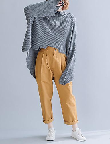billige Dametopper-Dame Ensfarget Langermet Løstsittende Pullover, Besmykket Høst / Vinter Bomull Mørkegrå En Størrelse