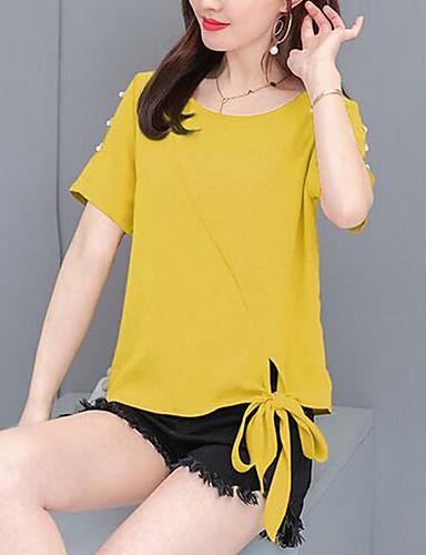 T-skjorte Dame - Ensfarget, Perler / Utskjæring / Blondér Grunnleggende Rosa