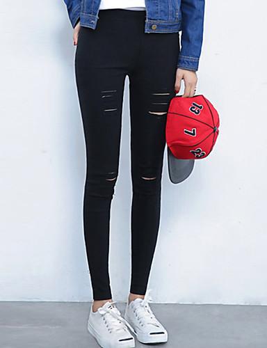 abordables Pantalons Femme-Femme Chic de Rue Mince Pantalon - Couleur Pleine Troué Blanche Noir XL XXL XXXL