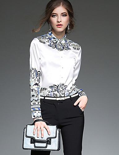 billige Dametopper-Bluse Dame - Geometrisk Hvit
