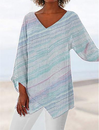 povoljno Ženske majice-Veći konfekcijski brojevi Majica s rukavima Žene - Osnovni Dnevno Prugasti uzorak V izrez Obala