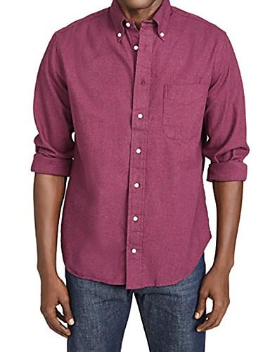 Veći konfekcijski brojevi Majica Muškarci - Osnovni Dnevno Pamuk Jednobojni Fuksija / Dugih rukava