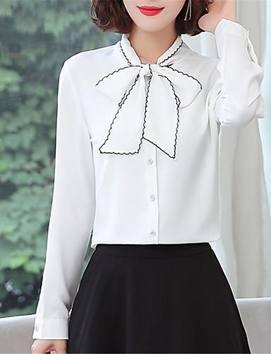 Kadın's Gömlek Fiyonklar, Solid Çin Stili Açık Mavi