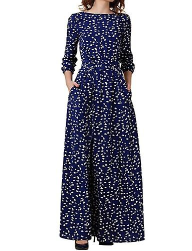 voordelige Maxi-jurken-Dames Wijd uitlopend Jurk - Polka dot Maxi