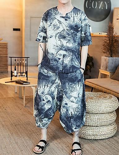voordelige Herenoverhemden-Heren Standaard Set Pantalon - Print, Bloemen