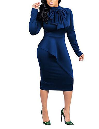 abordables Robes Femme-Femme Chic de Rue Sophistiqué Midi Courte Gaine Robe - Noeud, Couleur Pleine Noir Bleu Rouge S M L Manches Longues