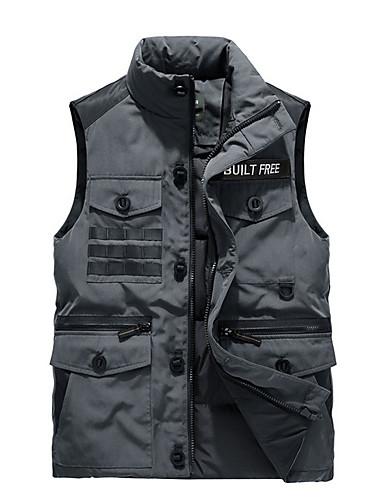 voordelige Heren donsjassen & parka's-Heren Effen Normaal Vest, Polyester Zwart / Grijs US32 / UK32 / EU40 / US34 / UK34 / EU42 / US36 / UK36 / EU44