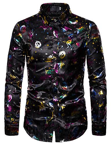 Erkek Gömlek Desen, Geometrik / Galaksi Temel Siyah Siyah