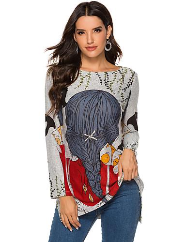 billige Dametopper-T-skjorte Dame - Dyr / Portrett, Trykt mønster Grunnleggende Katt Rød