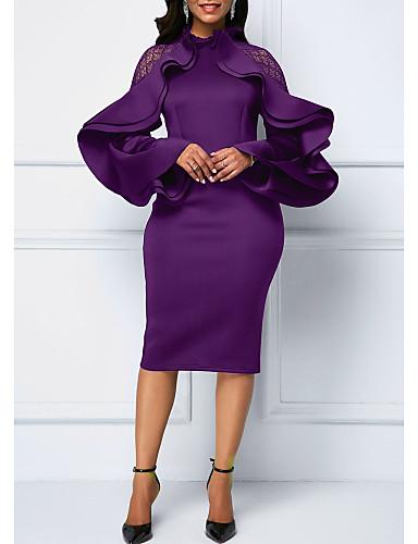 abordables Robes Femme-Femme Sophistiqué Midi Gaine Robe - A Volants Mosaïque, Couleur Pleine Noir Violet Bleu S M L Manches Longues
