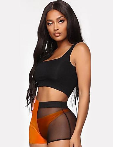 abordables Pantalons Femme-Femme Basique Chino / Short Pantalon - Couleur Pleine Maille / Mosaïque Taille haute Orange Rouge Vert Claire M L XL