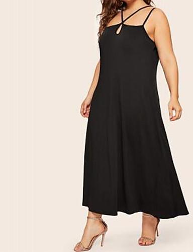 voordelige Maxi-jurken-Dames Boho Elegant A-lijn Schede Jurk - Effen, Veters Maxi Zwart