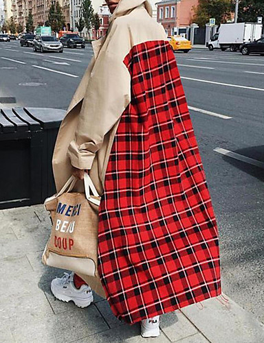 abordables Manteaux & Vestes Femme-Femme Quotidien Automne hiver Longue Manteau, Tartan Revers Cranté Manches Longues Polyester Marron
