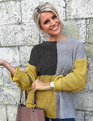 Недорогие Женские блузы-Жен. Контрастных цветов Длинный рукав Пуловер, Круглый вырез Черный / Желтый S / M / L