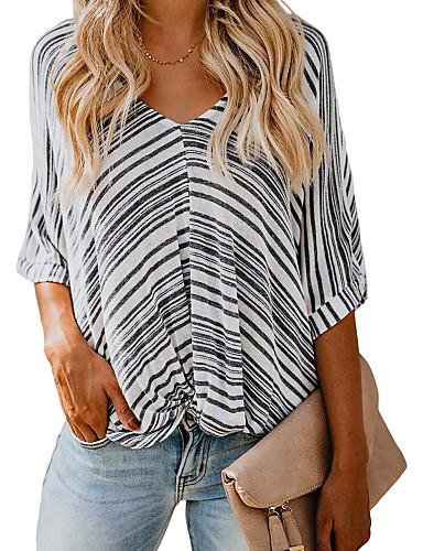 billige Dametopper-T-skjorte Dame - Stripet Grunnleggende BLå & Hvit / Svart og hvit Svart