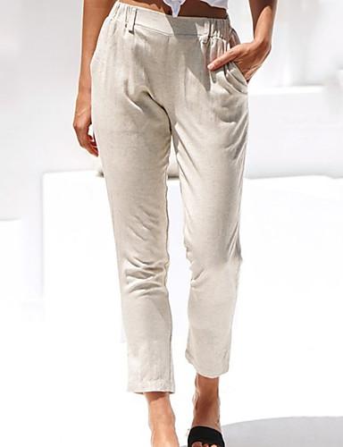 abordables Pantalons Femme-Femme Chic & Moderne Sarouel Pantalon - Couleur Pleine Coton / Lin Noir Beige L XL XXL