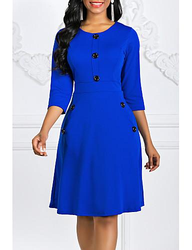 cheap Vintage Dresses-Women's Vintage A Line Dress Red Purple Royal Blue L XL XXL