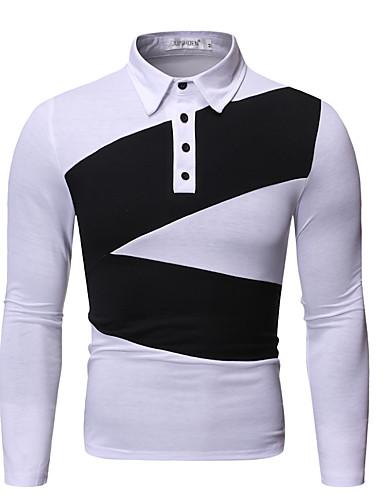 voordelige Herenpolo's-Heren Polo Geometrisch Zwart
