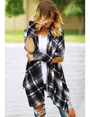 Kadın's Günlük Normal Kaban, Zıt Renkli Yakasız Uzun Kollu Polyester Siyah S / M / L