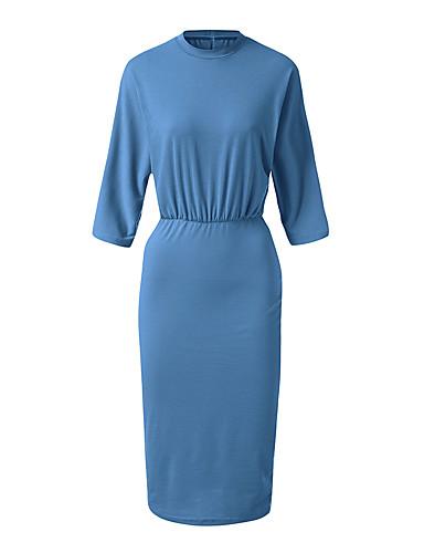 abordables Robes Femme-Femme Chic de Rue Mi-long Moulante Robe Couleur Pleine Bleu clair Violet Vert S M L Manches Longues
