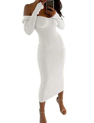 זול שמלות נשים-שחור לבן מקסי גב חשוף פאייטים רקום, אחיד פסים - שמלה נדן סריגים בסיסי מתוחכם בגדי ריקוד נשים