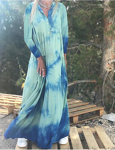 Kadın's Gömlek Elbise - Batik Maksi