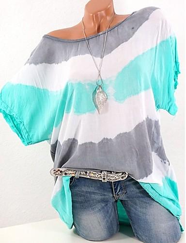 billige Dametopper-T-skjorte Dame - Stripet, Trykt mønster Grunnleggende / Chinoiserie Grønn