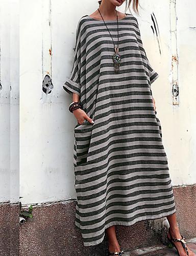 billige Kjoler-Dame Grunnleggende Swing Kjole - Stripet Midi