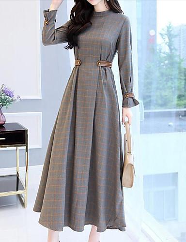 voordelige Maxi-jurken-Dames Feest Uitgaan Informeel Katoen Wijd uitlopend Jurk - Blokken Patchwork Opstaand Maxi / Ruimvallend