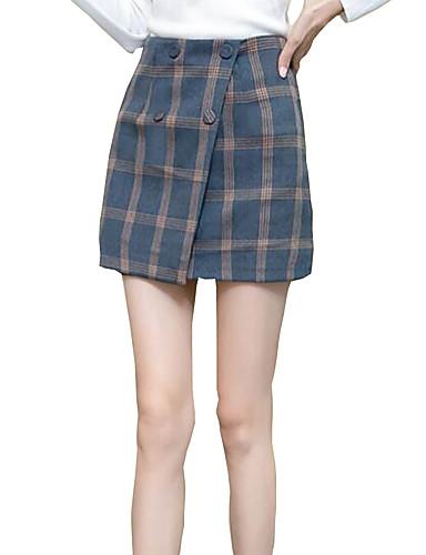 abordables Robes Femme-Femme Chinoiserie Mini Moulante Robe - Plissé, Pied-de-poule Bleu & blanc Bleu Kaki S M L Sans Manches