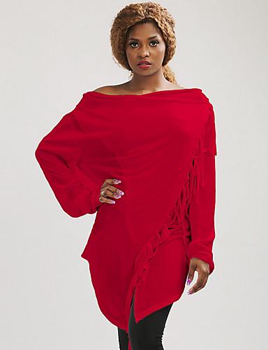 povoljno Ženske majice-Žene Jednobojni Dugih rukava Pullover, Izrez s naborima Red S / M / L