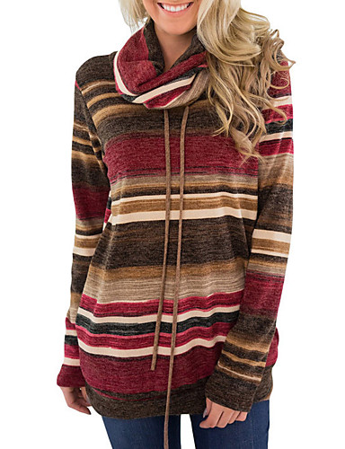 billige Dametopper-T-skjorte Dame - Stripet, Trykt mønster Grunnleggende Blå