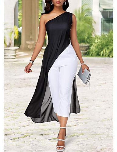 abordables Hauts pour Femmes-Femme Noir Barboteuse, Couleur Pleine M L XL