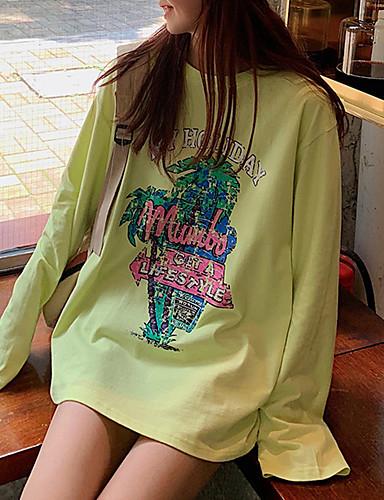 Kadın's Tişört Desen, Grafik / Harf Temel Açık Yeşil