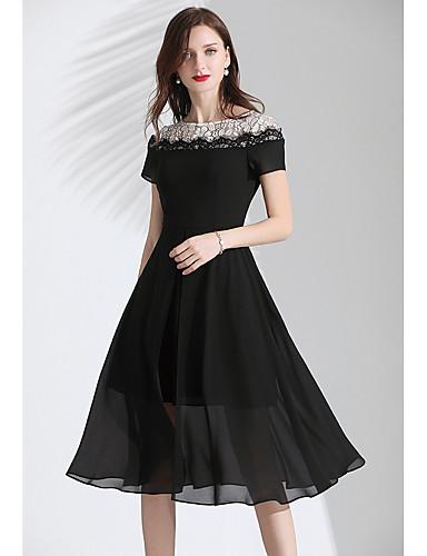 voordelige Korte jurken-A-lijn Met sieraad Tot de knie Chiffon Bruidsmoederjurken met Split voorzijde door LAN TING Express
