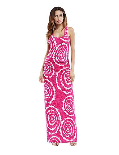 voordelige Maxi-jurken-Dames Boho Schede Jurk - Abstract Maxi