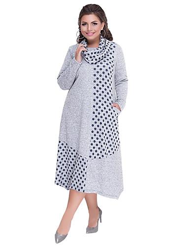 voordelige Grote maten jurken-Dames Standaard Elegant Schede T Shirt Jurk - Polka dot, Patchwork Midi