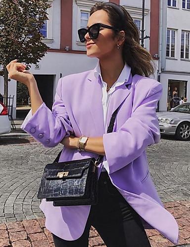 abordables Manteaux & Vestes Femme-Femme Blazer Revers Cranté Polyester Violet