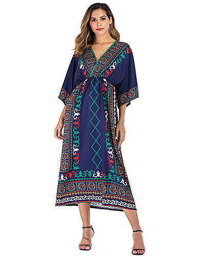 voordelige Grote maten jurken-Dames Standaard Boho T Shirt Kaftan Jurk - Geometrisch, Print Maxi