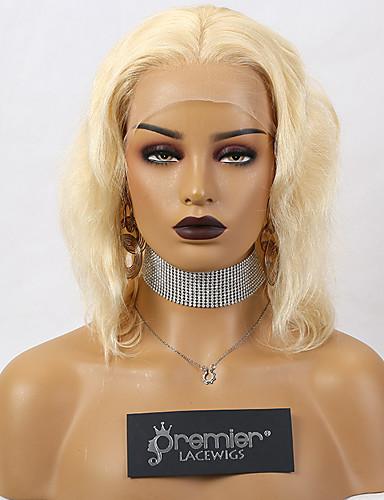 billige Blonde Lace Wigs-premierwigs limløs blonder foran parykker brasiliansk remy menneskehår blond ombre brun farge 150% tetthet kroppsbølge med preplucked naturlig hårgrense baby hår