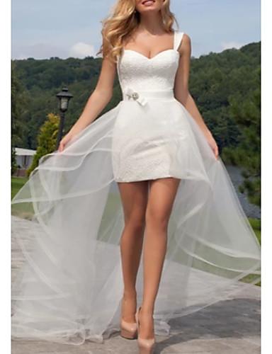 billige Bryllupskjoler 2019-A-linje Kjære Asymmetrisk Blonder / Tyll Made-To-Measure Brudekjoler med Skerfer / Bånd / Fallende drapering av LAN TING Express