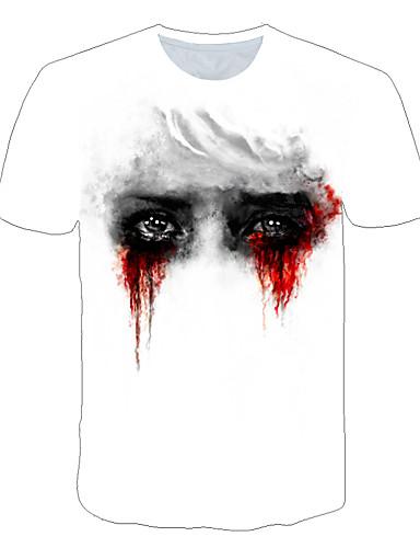 Herre - Farveblok / 3D / Tegneserie Trykt mønster Gade / overdrevet T-shirt Hvid