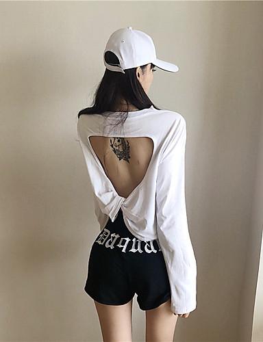 Kadın's Tişört Arkasız / Kırk Yama, Solid Temel Siyah