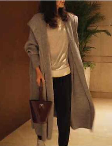 povoljno Ženske majice-Žene Jednobojni Dugih rukava Kardigan, S kapuljačom Sive boje S / M / L