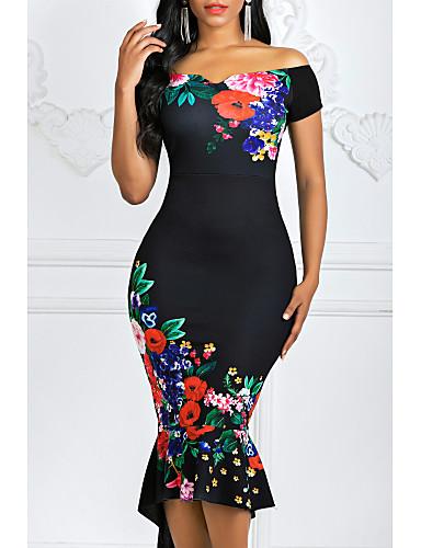 hesapli Print Dresses-Kadın's Bandaj Elbise - Çiçekli Düşük Omuz Asimetrik
