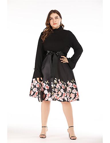 abordables Robes Femme-Femme Rétro Vintage Mi-long Trapèze Robe - Noeud Imprimé, Fleur Noir XL XXL XXXL Manches Longues