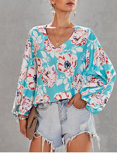 billige Topper til damer-Skjorte Dame - Geometrisk, Lapper Bohem Tropisk blad Lyseblå